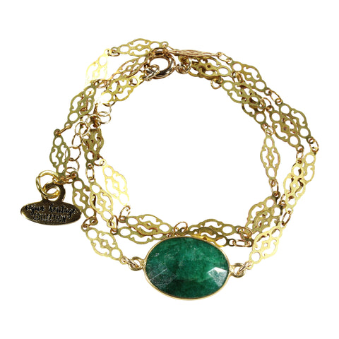 Emerald Filigree Necklace/Wrap Bracelet