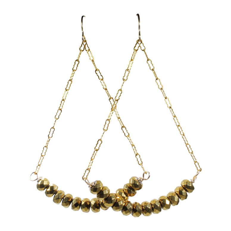Golden Hematite Dangle Earrings
