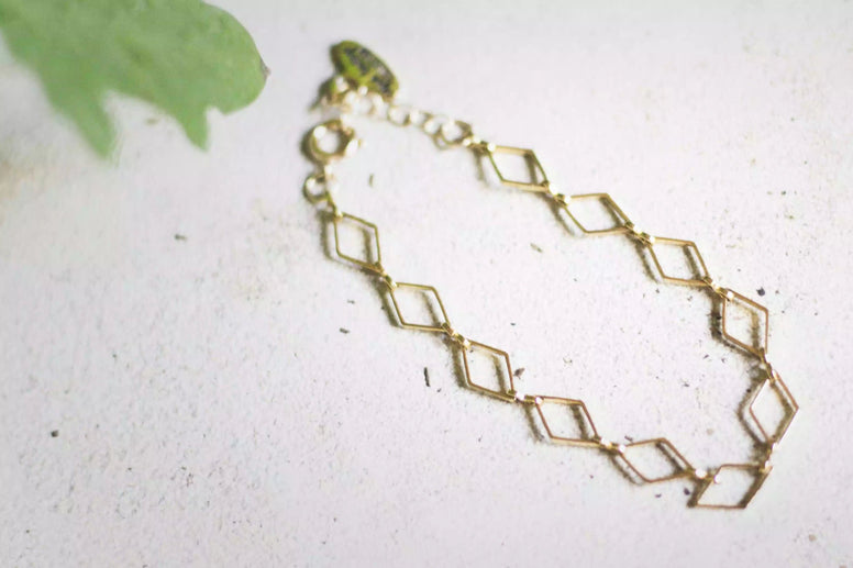 Golden Diamond-Shaped Bracelet