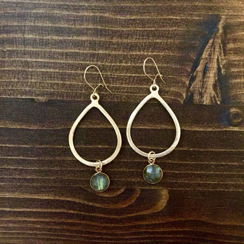 Labradorite + Golden Teardrop Earrings