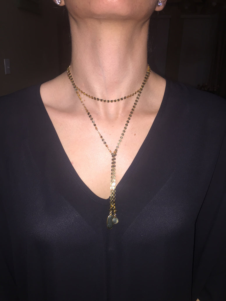 Golden Coin + Double Labradorite Drop Necklace