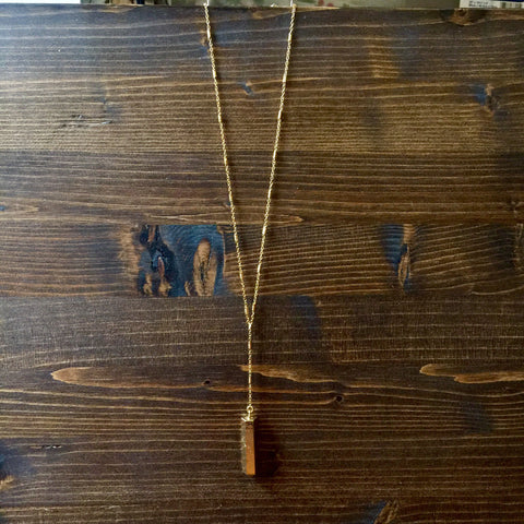 Gold Fill Barrel + Pyrite Pendant Lariat Necklace