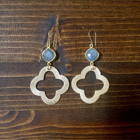Labradorite + Golden Quatrefoil Drop Earrings
