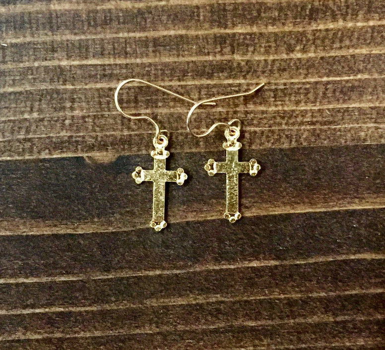 Medium Golden Cross Earrings