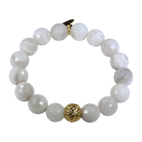 10mm Cream Agate Bracelet