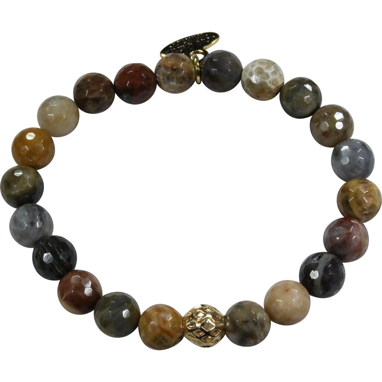 8mm Grey Brown Agate Bracelet