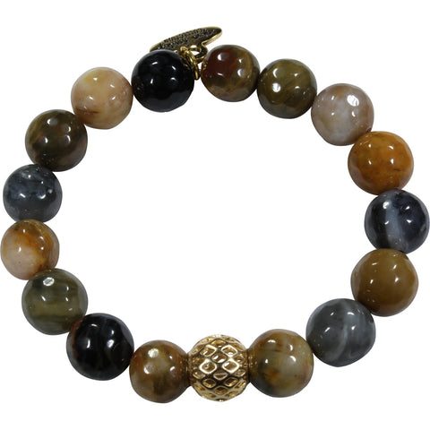 10mm Grey Brown Agate Bracelet
