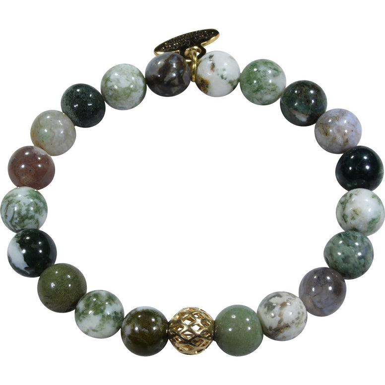 8mm Green Tree Agate Bracelet
