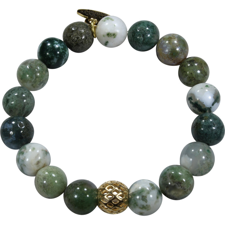 10mm Green Tree Agate Bracelet