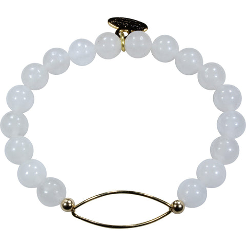 Cloudy White Jade + Golden Marquise Bracelet