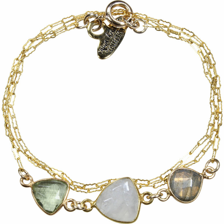 Gold Fill Triple Stone Necklace/Wrap Bracelet