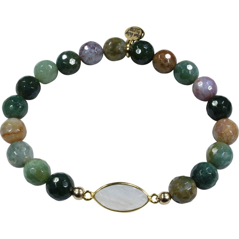 Indian Agate + Moonstone Bracelet