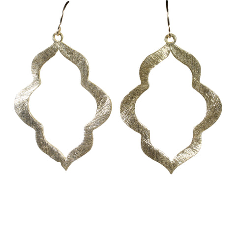 Gold Brushed Keyhole Earrings