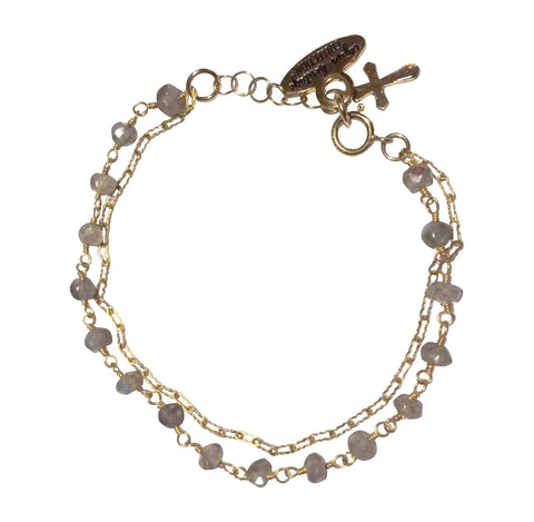 Gold Fill Labradorite Double Chain Bracelet