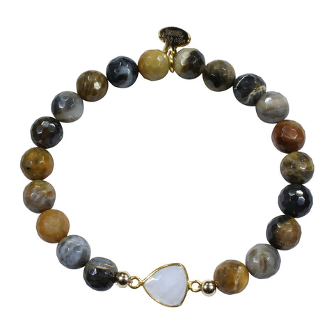 Brown Grey Agate + Moonstone Bracelet