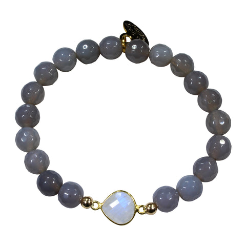 8mm Grey Agate + Moonstone Pendant Beaded Bracelet