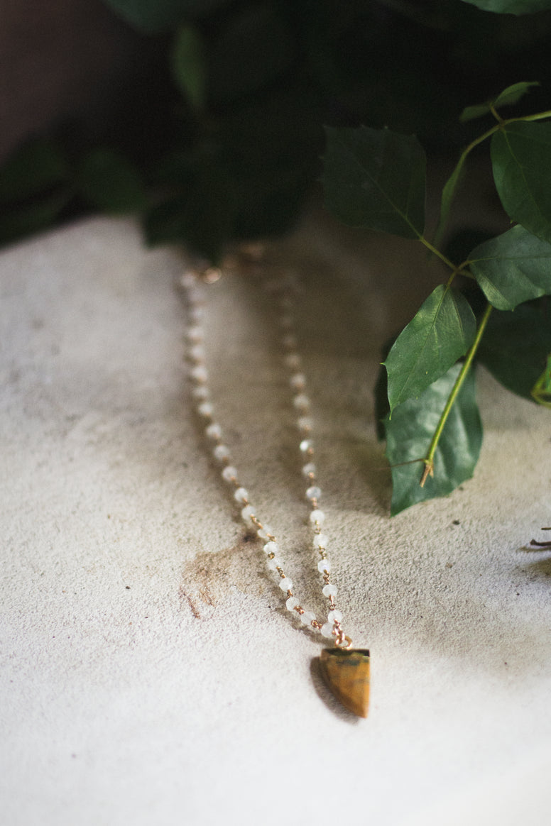 Honey Jasper Husk + Moonstone Choker Necklace