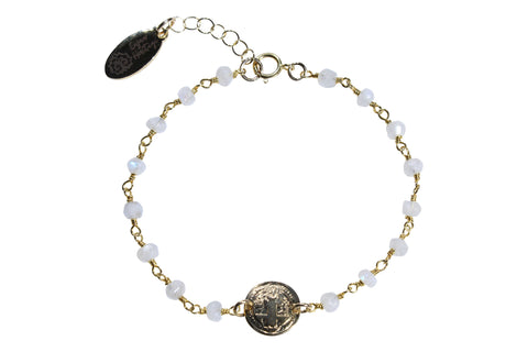 Gold Fill St. Benedict Moonstone Chain Bracelet