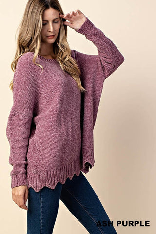 Purple Scalloped Chenille Sweater