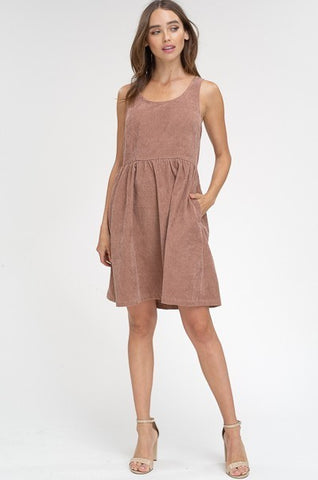 Washed Corduroy Sleeveless Dress