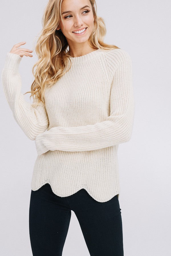 Ivory Scalloped Hem Sweater