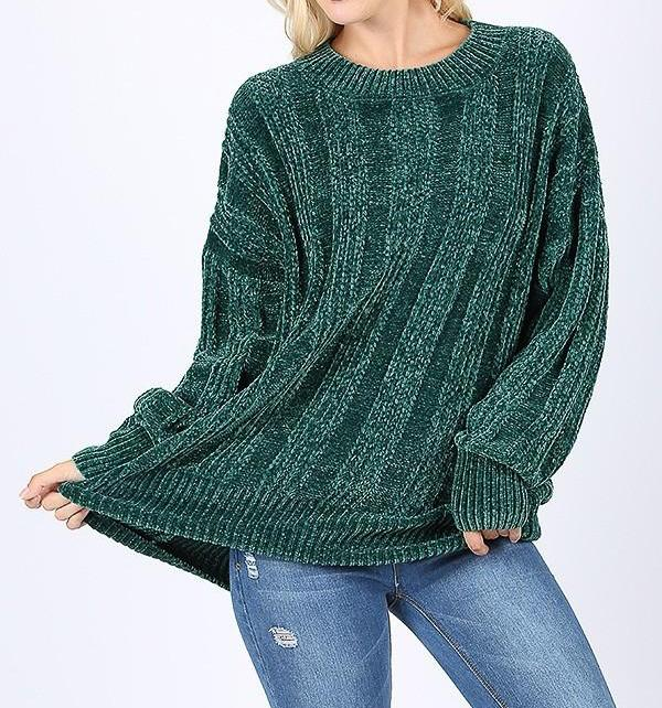 Hunter Green Chenille Sweater (*Preorder)