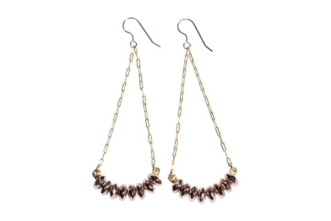 Rose Hematite Gold Fill Earrings