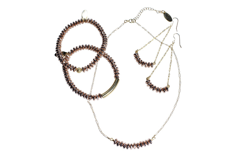 Rose Hematite Gold Fill 3-Piece Jewelry Set