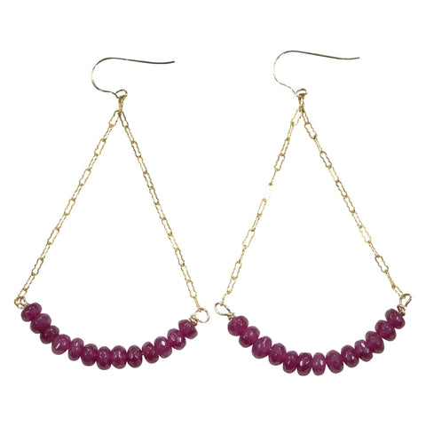 Golden Ruby Dangle Earrings