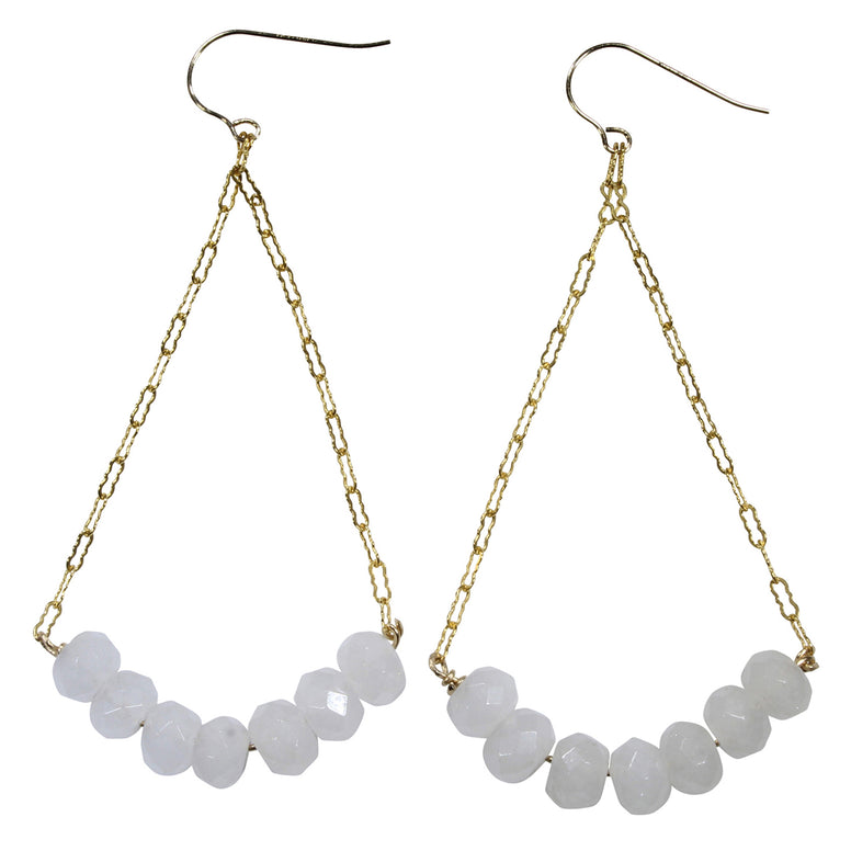 White Jade Dangle Earrings
