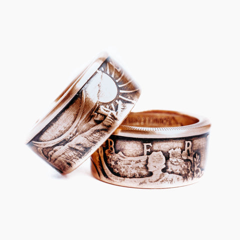 Copper Walking Liberty Coin Ring
