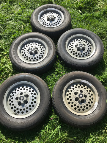 "JAGUAR XJS Series 3 S3 XJ12 XJ6 Pepper Pot Wheels With Tyres X5 15"" 6Jx15 H2 ET33"