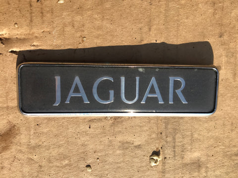 Jaguar XJ40 boot badge Dark grey back with silver lettering