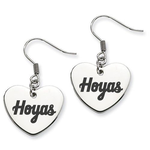 Georgetown Hoyas Heart Shape Drop Earrings