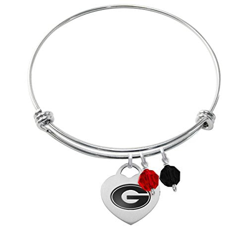 Georgia Bulldogs Stainless Steel Adjustable Bangle Bracelet with Heart Charm & Crystal Accents