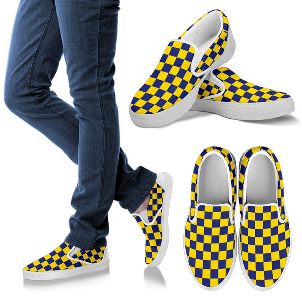 Tupelo Golden Wave checkered Slip Ons Womens