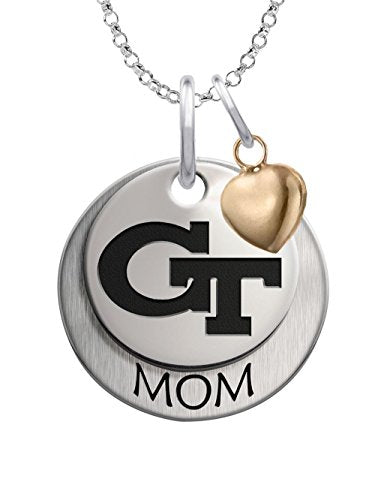 Georgia Tech Yellow Jackets Sterling Silver Stacked MOM Charm Necklace with Heart Accent