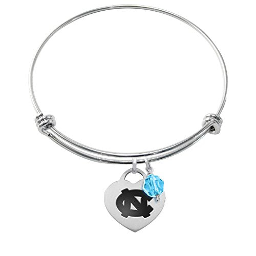 North Carolina Tar Heels Stainless Steel Adjustable Bangle Bracelet with Heart Charm & Crystal Accent