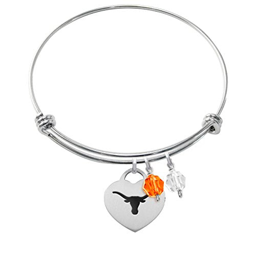 Texas Longhorns Stainless Steel Heart Adjustable Bangle Bracelet