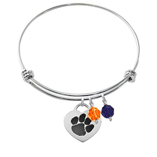 Clemson Tigers Stainless Steel Adjustable Bangle Bracelet with Heart Charm & Crystal Accents - DealsAmazingDeals.com