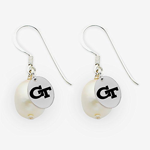 Georgia Tech Yellow Jackets Sterling Silver Cultured Freshwater Pearl Drop Earrings
