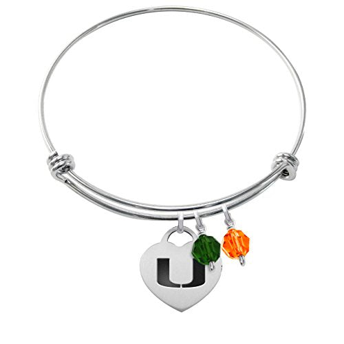 Miami Hurricanes Stainless Steel Adjustable Bangle Bracelet