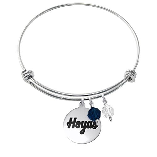 Georgetown Hoyas Stainless Steel Adjustable Bangle Bracelet with Round Charm & Crystal Accents