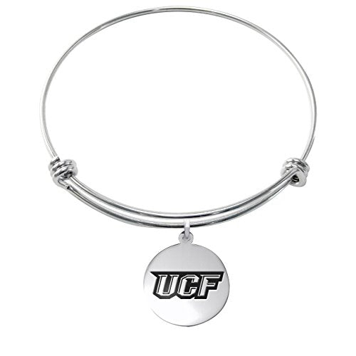 Central Florida Knights Stainless Steel Adjustable Bangle Bracelet with 17mm Round Charm - DealsAmazingDeals.com