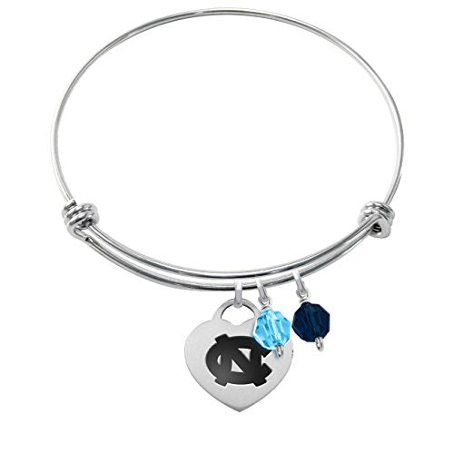 North Carolina Tar Heels Stainless Steel Heart Adjustable Bangle Bracelets - 3 options
