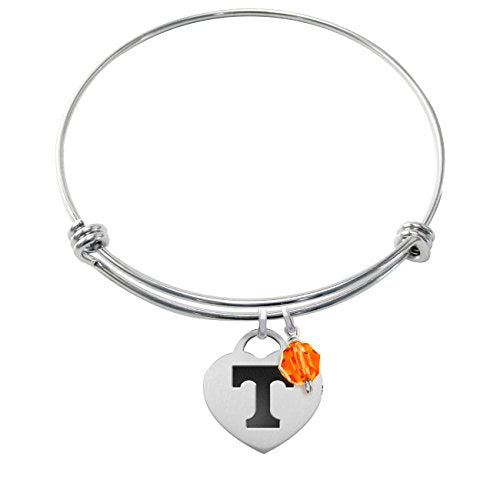 Tennessee Volunteers Stainless Steel Adjustable Bangle Bracelet with Heart Charm & Crystal Accent