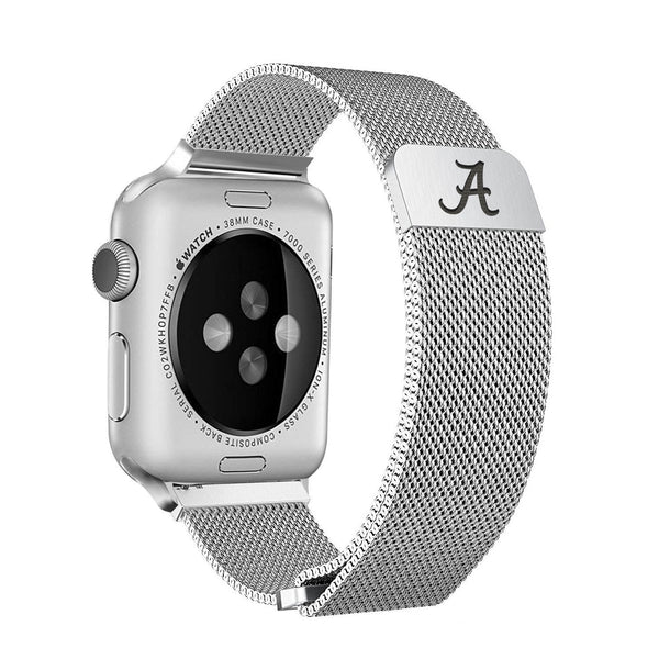 Alabama Crimson Tide Stainless Steel Replacement Apple Watch Band - DealsAmazingDeals.com