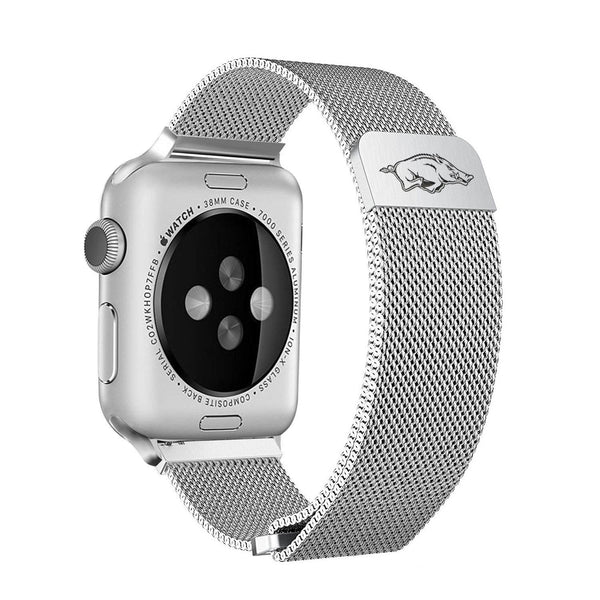 Arkansas Razorbacks Stainless Steel Replacement Apple Watch Band - DealsAmazingDeals.com