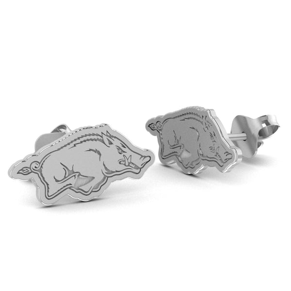 Arkansas Razorbacks Silver Stud Earrings - DealsAmazingDeals.com
