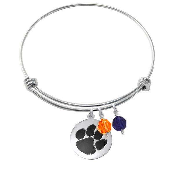 Clemson Tigers Stainless Steel Bangle Bracelet with Round Charm - DealsAmazingDeals.com